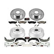 K15166dk Powerstop Brake Disc And Drum Kits 4-wheel Set Front And Rear New