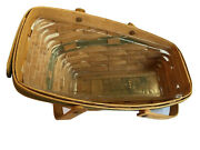 Longaberger Sleigh 1991 Yuletide Traditions Basket With Green Trim, Protector