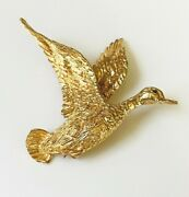14k Yellow Gold Flying Goose Brooch With Blue Sapphire Eye