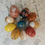 Lot Of 10 Marble Alabaster Easter Eggs Assorted Colors