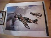 Vintage Grinnell Print Tigers Over China 1942 Presentation To Flying Tigers Ace