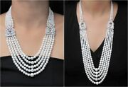 925 Sterling Silver Five String Art Deco Style Handmade Fine Opera Necklace