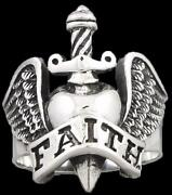 Faith Love Heart Wing Sword 925 Sterling Solid Silver Mens Womens Ring All Sizes