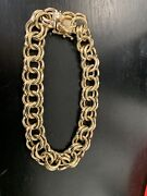 Wide And Heavy Vintage 14k Gold Double Link Charm Bracelet 8 Inches 37 Grams