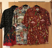 Big Dogs Hawaiian Barbecue Flames Shirts Lot Of 3 Size S/m