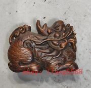 Old Japanese Netsuke Boxwood Collectible Vintage Dragon Solid Wood Statue C17