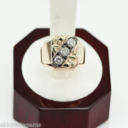 1.35. Ct. Si2-g Menandrsquos Signet Ring 14k Rose Pink Gold Russian Origin Size 11