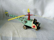 Vintage Clockwork Helicopter, With Flexible Monorail Ms 706 Chinese Tinplate Toy