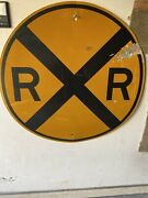 Authentic Vintage Railroad Crossing Heavy Steel Sign Original 36 And Bullet Holes