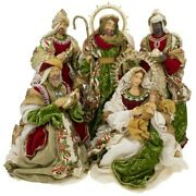 Mark Roberts 2020 Collection Nativity Green Set Of 5 Figurines