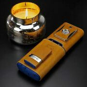 Brizard And Co 3 Cigar Case Blue Ostrich And Brown Leather Lighter And Cutter Set 550