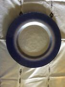 Portmeirion Pearlescent Blue/silver Platter 13 3/8 - Rare- Made In Germany