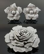 925 Sterling Silver Tiny Round Cz Studded Rose Statement Fine Brooch And Earrings