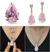 925 Sterling Silver Pink Pear Drop Pendant Chain Necklace Earrings And Ring Set