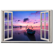 Sunset Boat Calm Waters Canvas Picture Print Wall Art Free Fast Delivery