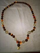 Vintage Chinese Amber And Bone Necklace