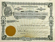Aetna Mining And Milling Company Burke Idaho Stock Certificate