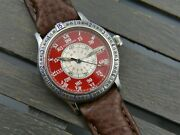 90and039s Vintage Watch Longines Lindbergh Hour Angle L2.617.4 Automatic Red Rare