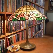 Antique Leaded Glass Lamp By Unique And Handel, Bradley And Hubbard Wilkenson Styles