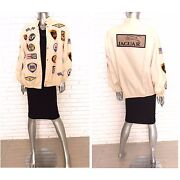 Vtg Women's Jacket With Vintage Car Patches Racing Jacket Race Car Patch