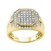 0.97ct Round Diamonds In 14k Gold Octagon Menand039s Signet Ring