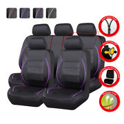 Car Pass Car Seat Cover Purple Piping Leather Universal Full Set Rear Split Fit