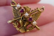1932 Eagle W/ Crossed Swords 10k Va Coe 2nd Regt. Pin Military Pin