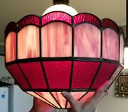 Vtg Arts And Crafts Mission Stained Slag Glass Lamp Shade Large 20 Style