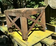 Industrial Wood Coffee Table 25in X 24in X 22in Saw Blade Work Butcher Bench
