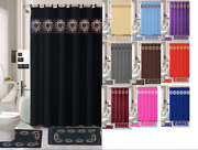18-piece Elegant Bathroom Set Shower Curtain, Rings, Towels, And Mats Included