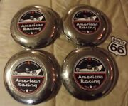 Set 4 1956-1960and039s Cadillac American Racing Custom Wire Spoke Wheel Center Caps