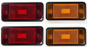 Front And Rear Led Side Markers W/ Black Aluminum Low Bezels 1970-1977 Ford Bronco