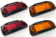 Front And Rear Led Side Markers W/ Black Aluminum Raised Bezels For 1970-77 Bronco