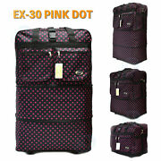 30 Expandable Spinner Suitcase Luggage Wheeled Duffel Rolling Bag -pink Dot