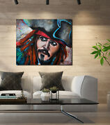 Jack Sparrow Modern Abstract Painting Original Large Portrait Painting Canvas