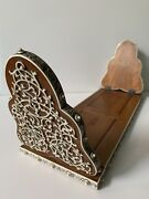 Rare Antique 1920s Indian Inlay Ivory In Bamboo Wood Bookend. Expandable
