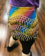 Rainbow Multi-colored Chiffon Belly Dance Hip Scarf Skirt Silver Or Gold Coins