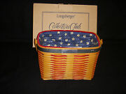 Longaberger Collectors Club 2001 Whistle-stop Basket Combo And Tie-on - New In Box