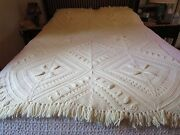 Vintage Knit Crochet Bedspread Coverlet Throw Afghan Cream Off White 74 X 50