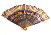 Antique Possibly Silk And Bamboo Hand-painted Folding Fan Brass Holder Rare