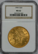 1904 20 Liberty Gold Coin Ngc Graded Ms62 - Free Shipping