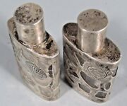 Lot 2 Mexico Sterling Silver Overlay Clear Glass Perfume Scent Bottles Ca. 20th