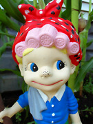 12 Vintage Pottery Cutesy Face Garden Gnome Elf W/pink Hair Rollers And Red Scarf