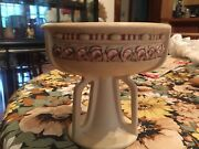 """Antique Weller Art Pottery Roma Comport 5 1/2"""", Unmarked Matte Ivory"""