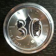 Canada 30 Th Anniversary Maple Leaf 2018 1 Oz Silver .9999 In Capsule Tracked Sh