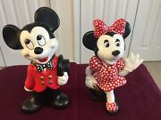 Mickey And Minnie Mouse Hand Painted Ceramic Walt Disney Productions 9 Figurines