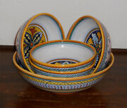 Deruta Italian Pottery Salad Bowls Set 5 Pcs Hand Painted100 Made In Italy