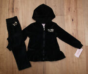 Juicy Couture Toddler Girl Velour Hooded Jogging Set Black And Gold 3t