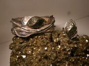 Vtg Modernist Silversmith Avi Soffer Brutalist Silver And Iron Pyrite Cuff And Ring