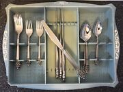 Oneidacraft Oneida Deluxe Stainless Flatware Nordic Crown 20pc Svc4 Vintage Tray